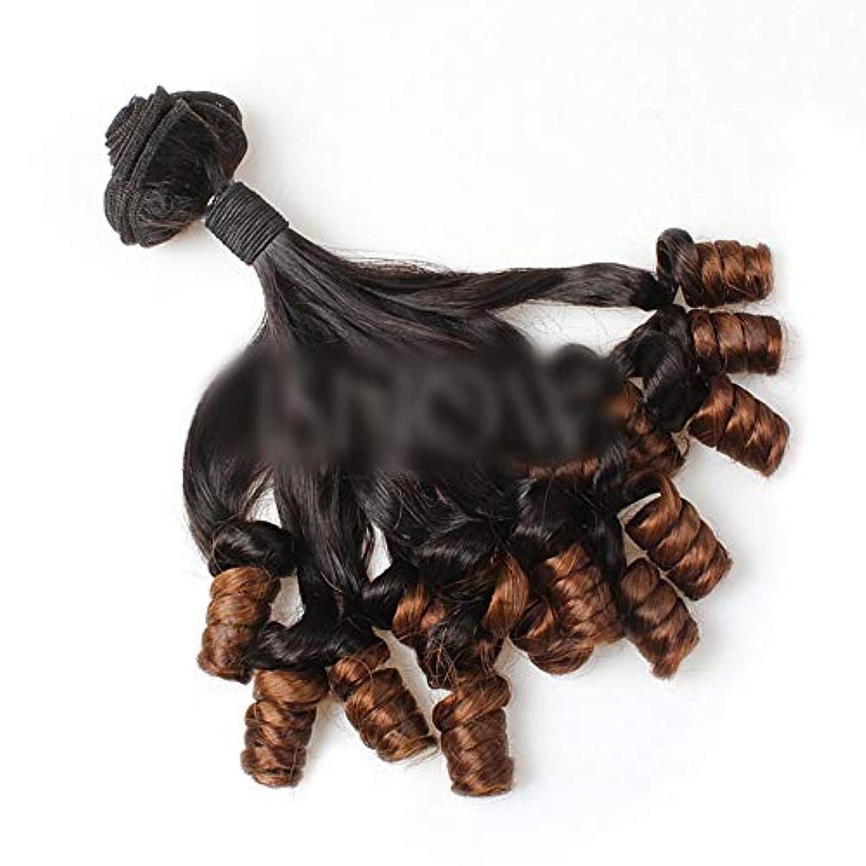 木材宗教的な刈るWASAIO ブラジル人毛Unforesightfulカーリースラックは、女性のための閉鎖ボディウェーブバンドルに織り (色 : ブラウン, サイズ : 16 inch)