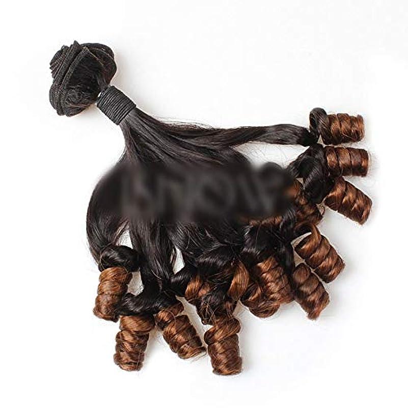 人気追い払う電池HOHYLLYA ブラジルFunmi人毛ショートカーリールーズウェーブヘアバンドル用ロールプレイングかつら女性のかつら (色 : ブラウン, サイズ : 10 inch)