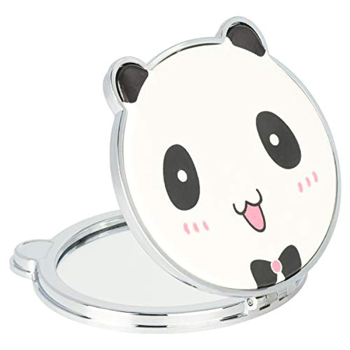 ナラーバー戦略調和のとれたMouyor 両面コンパクトミラー 手鏡 化粧鏡 携帯ミラー ハンドミラー 5倍拡大鏡+等倍鏡 折りたたみ (くまの形-X4)