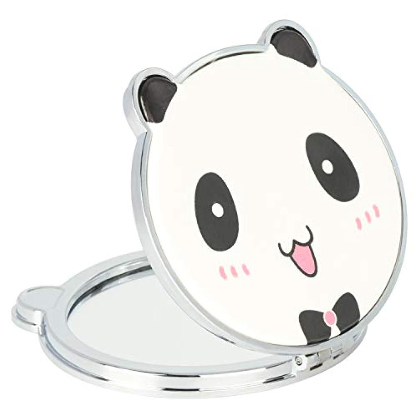 落花生楽しむ意見Mouyor 両面コンパクトミラー 手鏡 化粧鏡 携帯ミラー ハンドミラー 2倍拡大鏡+等倍鏡 折りたたみ (パンダの形-X4)