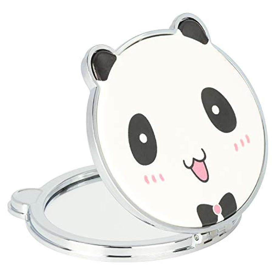 明確なブラシ磁器Mouyor 両面コンパクトミラー 手鏡 化粧鏡 携帯ミラー ハンドミラー 2倍拡大鏡+等倍鏡 折りたたみ (パンダの形-X4)