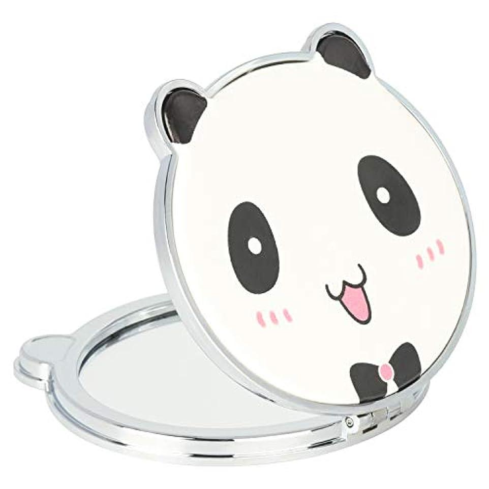 基礎慎重罹患率Mouyor 両面コンパクトミラー 手鏡 化粧鏡 携帯ミラー ハンドミラー 5倍拡大鏡+等倍鏡 折りたたみ (くまの形-X4)