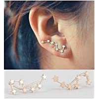 palettei Gold/Silver Big Dipper Zodiac Constellation Stud Earrings Ear Climbers Ear Crawlers for Women Girls Jewelry