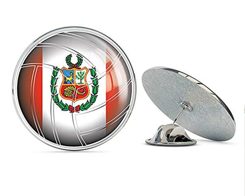 TG Graphics ペルーバレーボール ワールドフラッグ アート ラウンド メタル ラペルピン キュート クール ハット シャツ ピン タイ ピン バック