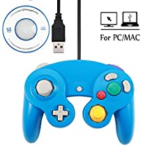 Mekela 5.8 feet Classic USB Wired NGC Controller Gamepad resembles Gamecube for Windows PC MAC (USB Blue)