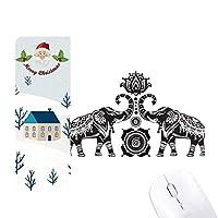 ペイントの象の友人の2人の幸せ サンタクロース家屋ゴムのマウスパッド