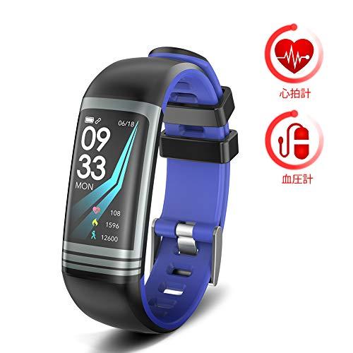 最新版 スマートウォッチ スマートフィットネスブレスレット 心拍計 血圧計 睡眠の監視 マルチスポーツモード スポーツデータ記録 着信電話通知 日本語の説明IOSとAndroid互換性(カラースクリーン)