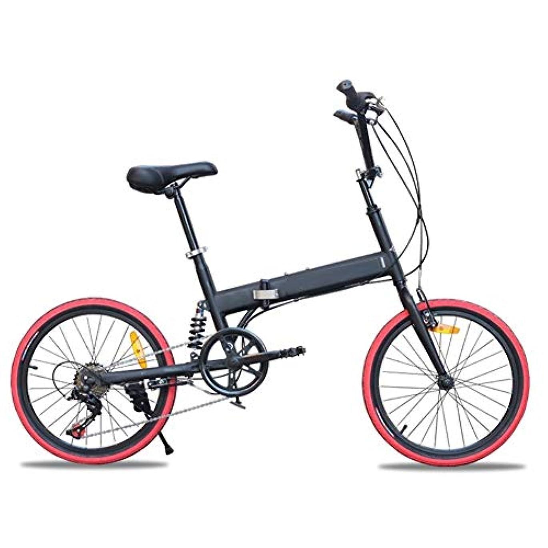 サンダー落ち着いて聴く自転車、折りたたみ自転車、20インチ折り畳み、6速、衝撃吸収、バリアブルスピード、男性と女性の道路やマウンテンバイク、学生マウンテンバイク (Color : Black, Size : 20 inches)