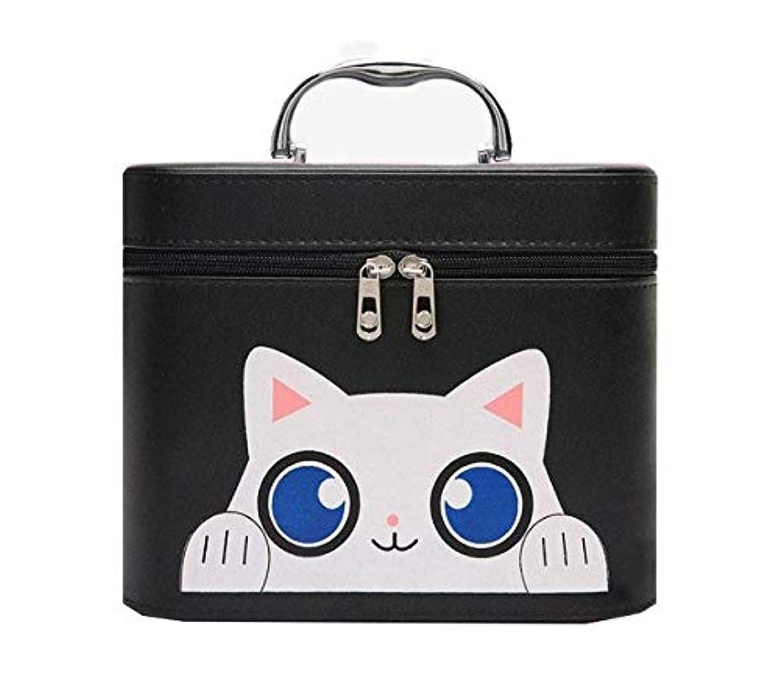 志す記念碑的なリーダーシップ化粧箱、黒漫画猫化粧品ケース、ポータブル旅行化粧品ケース、美容ネイルジュエリー収納ボックス (Size : L)
