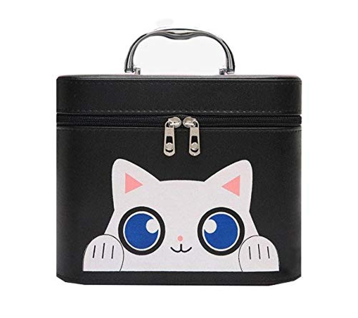 ウサギクレタ虚偽化粧箱、黒漫画猫化粧品ケース、ポータブル旅行化粧品ケース、美容ネイルジュエリー収納ボックス (Size : L)