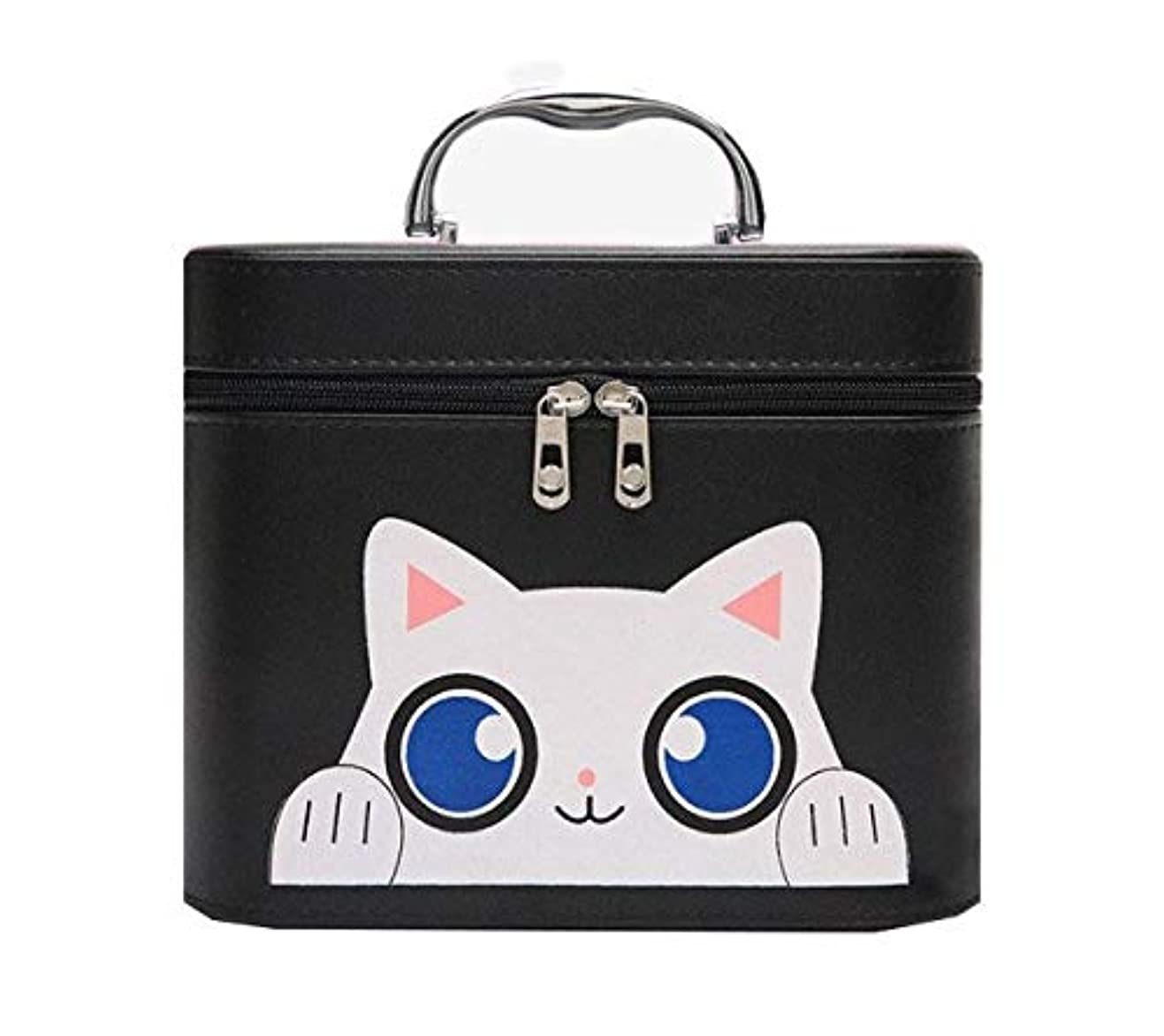 マンハッタン罹患率贅沢化粧箱、黒漫画猫化粧品ケース、ポータブル旅行化粧品ケース、美容ネイルジュエリー収納ボックス (Size : L)