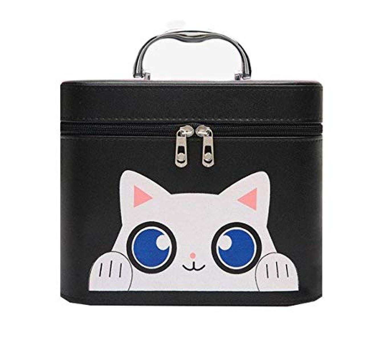 軽クリップ器用化粧箱、黒漫画猫化粧品ケース、ポータブル旅行化粧品ケース、美容ネイルジュエリー収納ボックス (Size : L)