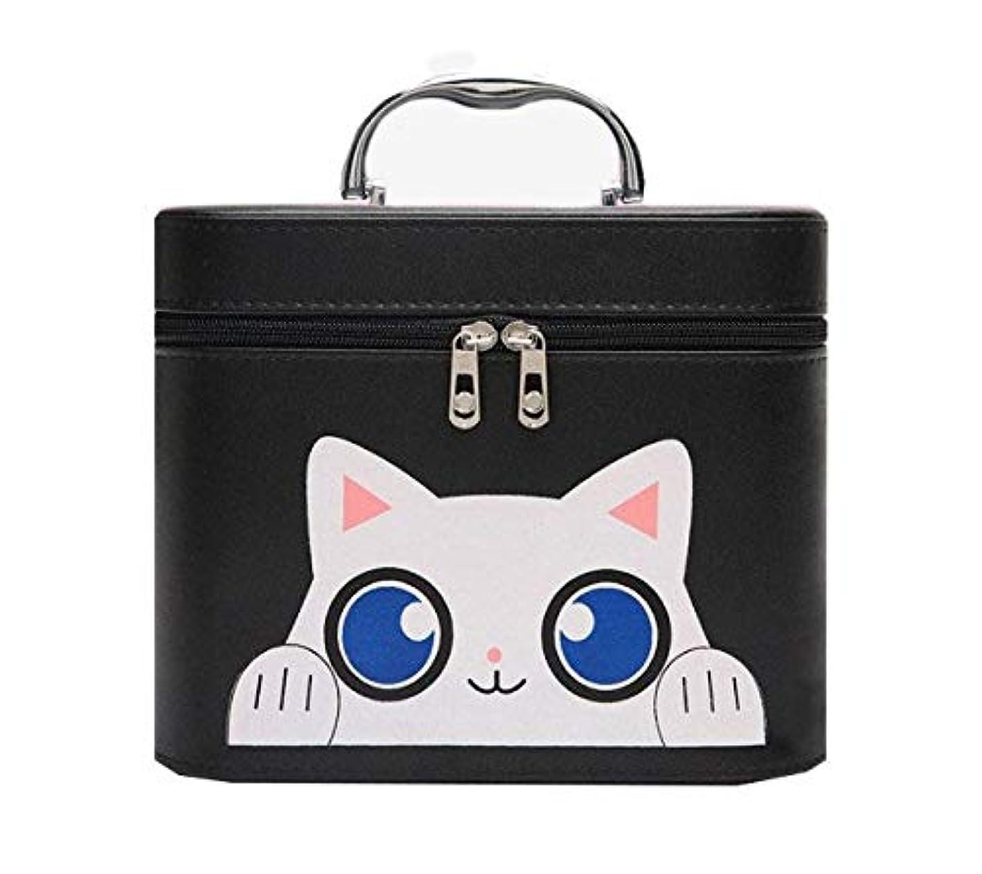 任命潜在的なファーザーファージュ化粧箱、黒漫画猫化粧品ケース、ポータブル旅行化粧品ケース、美容ネイルジュエリー収納ボックス (Size : L)