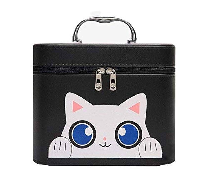 キャプテン洋服アッティカス化粧箱、黒漫画猫化粧品ケース、ポータブル旅行化粧品ケース、美容ネイルジュエリー収納ボックス (Size : L)