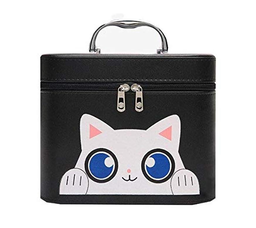 下る嘆願防腐剤化粧箱、黒漫画猫化粧品ケース、ポータブル旅行化粧品ケース、美容ネイルジュエリー収納ボックス (Size : L)