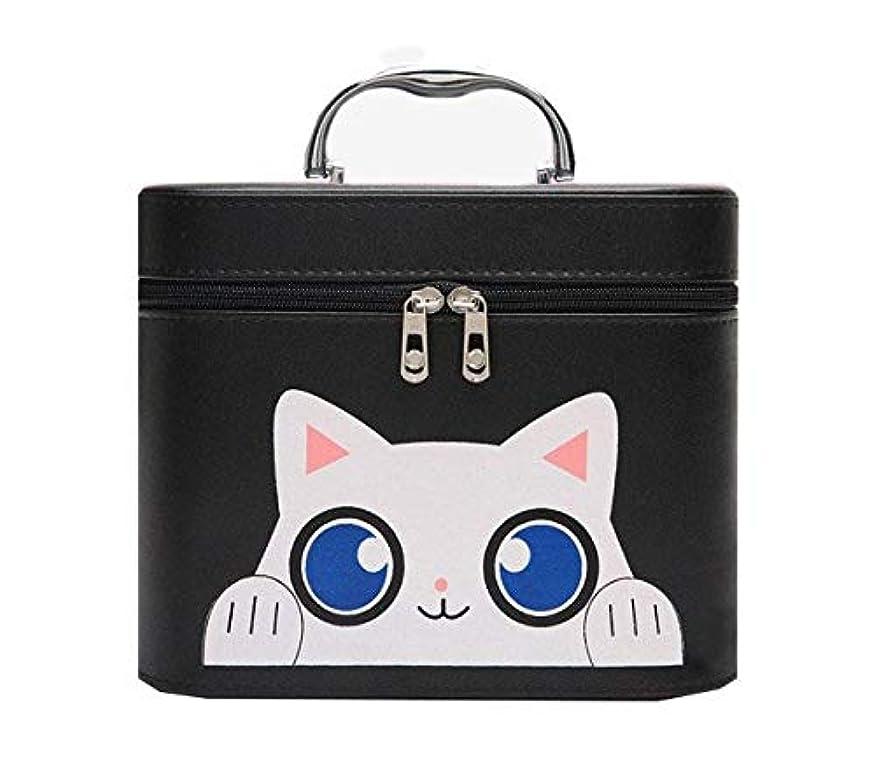 仮定気まぐれな箱化粧箱、黒漫画猫化粧品ケース、ポータブル旅行化粧品ケース、美容ネイルジュエリー収納ボックス (Size : L)