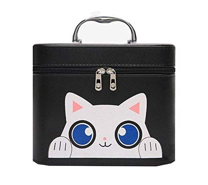 インタネットを見る汗排除化粧箱、黒漫画猫化粧品ケース、ポータブル旅行化粧品ケース、美容ネイルジュエリー収納ボックス (Size : L)