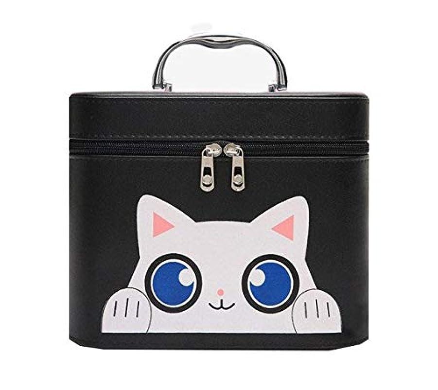 一定詐欺師意識化粧箱、黒漫画猫化粧品ケース、ポータブル旅行化粧品ケース、美容ネイルジュエリー収納ボックス (Size : L)