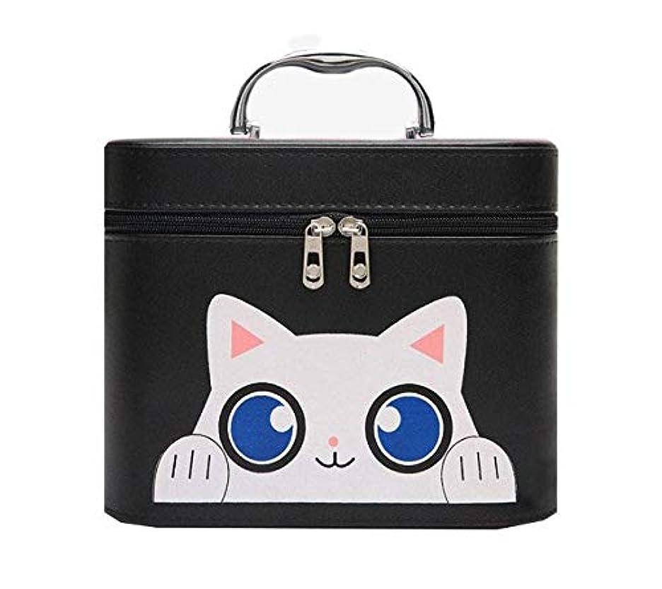 やさしいスケジュールスイング化粧箱、黒漫画猫化粧品ケース、ポータブル旅行化粧品ケース、美容ネイルジュエリー収納ボックス (Size : L)