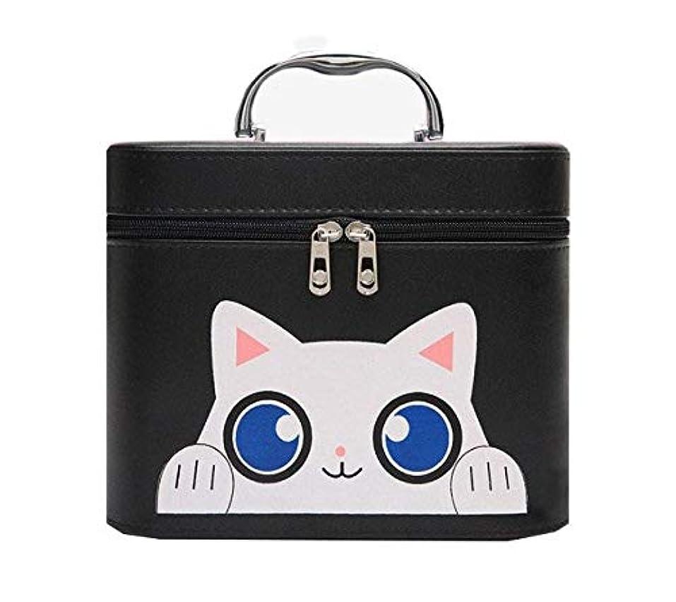 リズム空中セットアップ化粧箱、黒漫画猫化粧品ケース、ポータブル旅行化粧品ケース、美容ネイルジュエリー収納ボックス (Size : L)