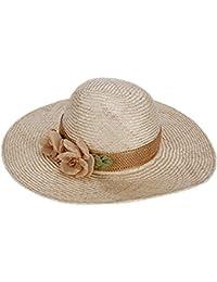 サマー ビーチホリデーサンハット 女性の麦わら帽子 フラワーデコレーション