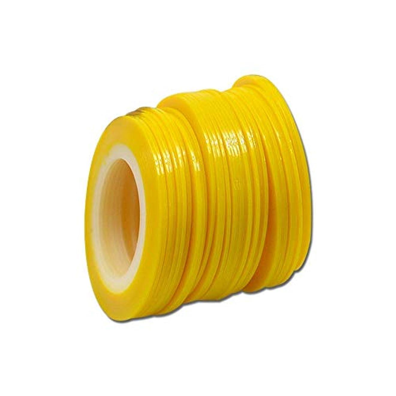 マイクロ許す明るくするSUKTI&XIAO ネイルステッカー 100個1ミリメートル色蛍光ストライプライン美容のヒントネイルステッカーネイルアートロールストライピング、黄色