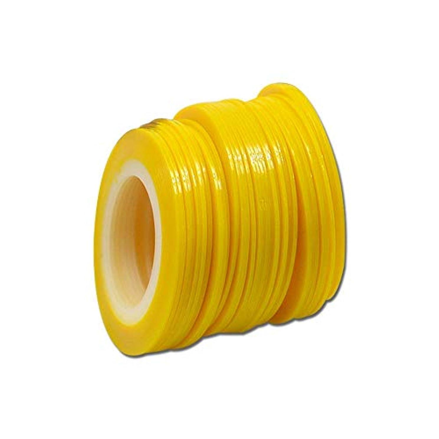 メタリック削るデンマーク語SUKTI&XIAO ネイルステッカー 100個1ミリメートル色蛍光ストライプライン美容のヒントネイルステッカーネイルアートロールストライピング、黄色