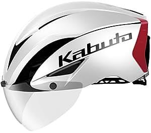 OGK KABUTO(オージーケーカブト) ヘルメット AERO-R1 パールホワイトレッド-3 S/M (頭囲 55cm~58cm)