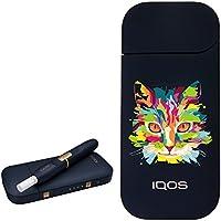 カラー プリント デザイン アイコス 新型 iQOS 2.4 Plus KIT 国内正規品 本体 キット セット (ネコ, ネイビー)