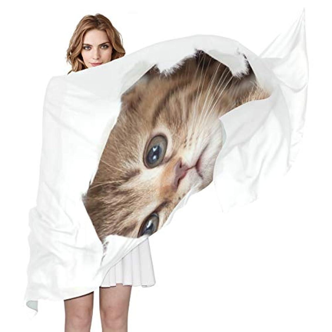 究極の五十ベルトユキオ(UKIO) 肌触り抜群 薄手 シフォンシルク ロング スカーフ ストール バンダナ おしゃれ 猫 隠れた彼女 子供 贈り物 ギフト 母の日 誕生日 プレゼント レディース バレンタインデー かわいい