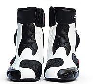 PRO SPEED A004オートバイ レーシングブーツ バイク用ブーツ 靴 (白, 40)