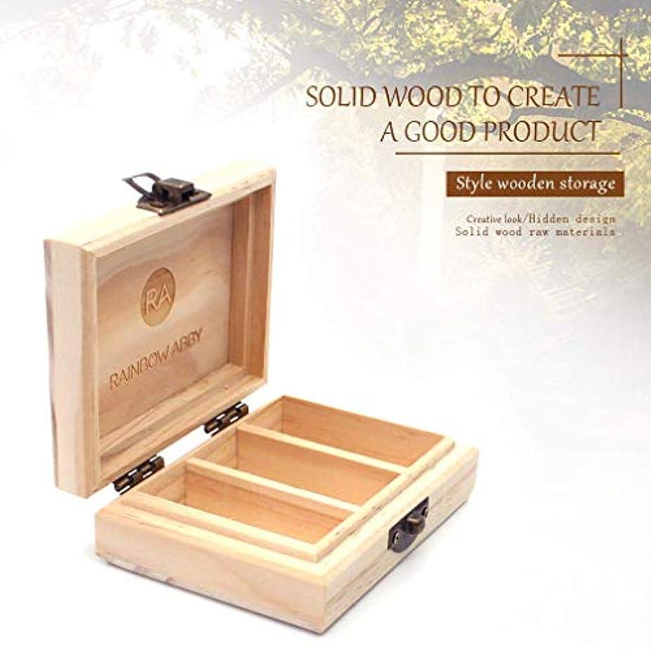 滑るマージ落ち着くRAINBOW ABBY プロフェッショナル エッセンシャル オイル 小さな 木製 キャリング ケース - 3つ スロット/ 4.3x3.2x1.5インチ カスタマイズ 自然 パイン エッセンシャル オイル ストレージ...