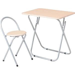 不二貿易 テーブル&チェアーセット 折畳み式 ナチュラル 79479
