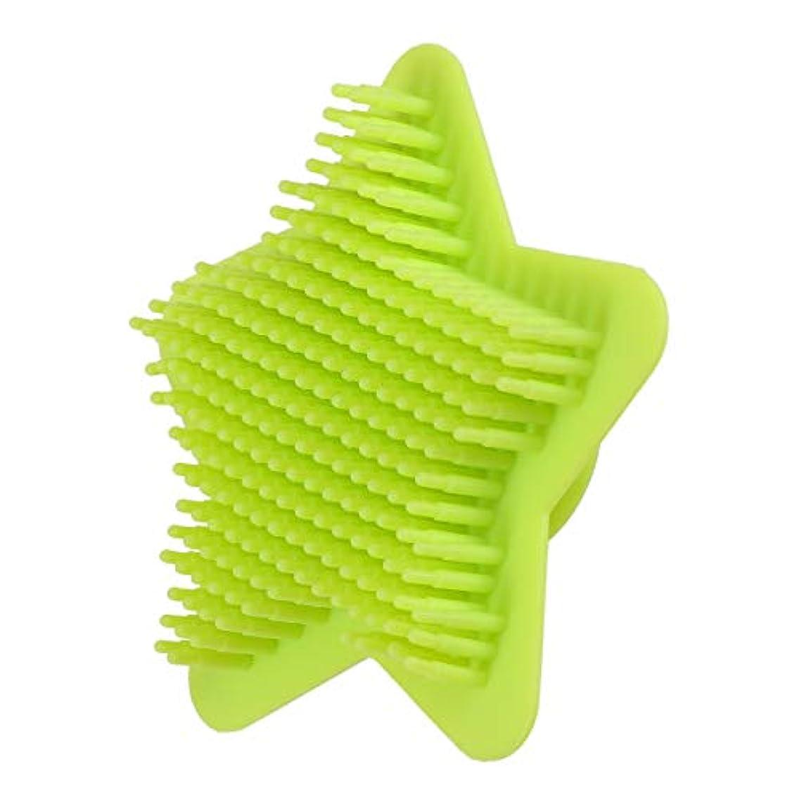 慢性的芸術的いっぱいHealifty シリコンボディスクラバーヘアシャンプーブラシスカルプソフトマッサージスクラバーブラシシャワーバスブラシ(グリーン)