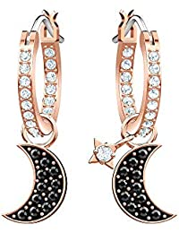 Swarovski Crystal Duo Moon Black Rose Gold-Plated Hoop Earrings