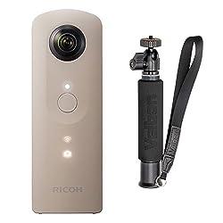 RICOH 360°カメラ RICOH THETA SC (ベージュ)  + Velbon  自撮り棒  ULTRA STICK SELFIE 6段 セット