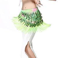 全8色 ベリーダンス衣装 ヒップスカーフ キラキラスパンコール ゴールドコイン レッスン着 レッスンウェア コスチューム ステージ衣装 ダンス衣装 ショール (グリーン, フリーサイズ)