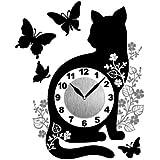 東洋ケース 時計 ステッカータイプ 壁掛け はがせる ウォールクロックステッカー ねこ 蝶 キャットバタフライ WC-C…