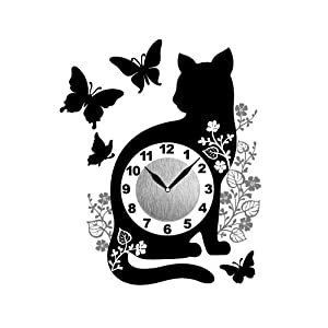 東洋ケース 時計 ステッカータイプ 壁掛け はがせる ウォールクロックステッカー ねこ 蝶 キャットバタフライ WC-CB