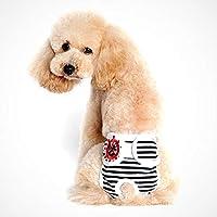 ACHICOO ペットパンツ 下着 かわいい 犬 生理的なズボン 衛生 女性の犬 黒と白のストリップ XL