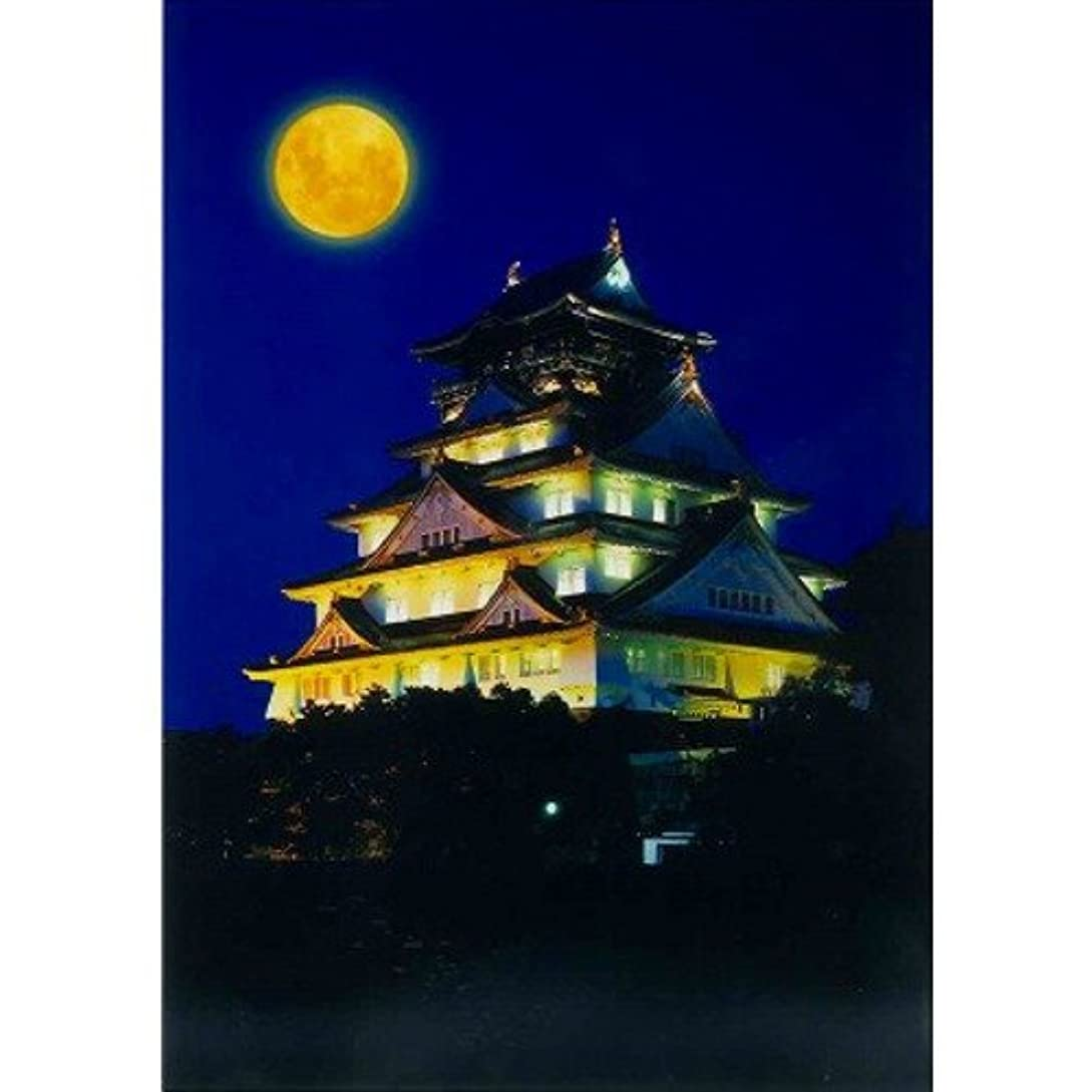 冷ややかな争う望遠鏡ハガキ 月と大阪城 大阪ー038