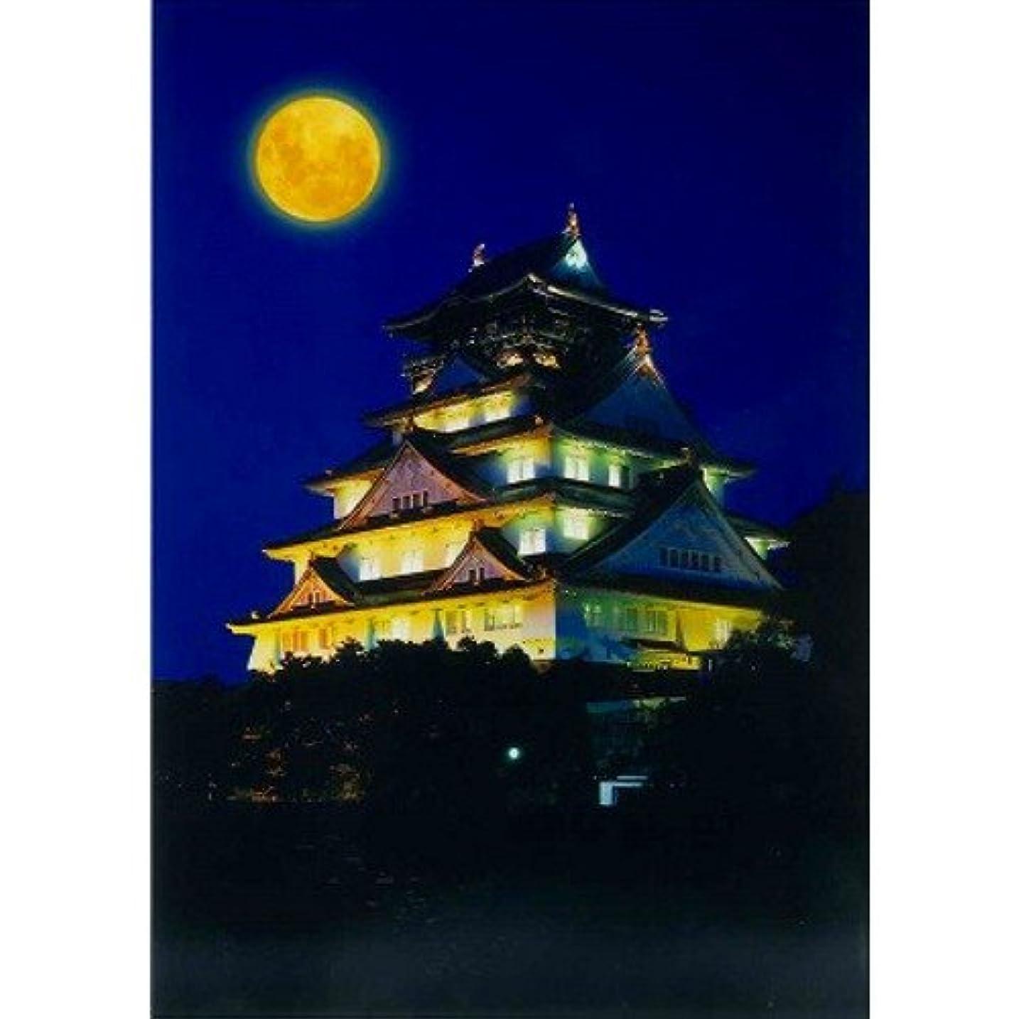すり減る派生する番号ハガキ 月と大阪城 大阪ー038
