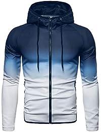 Sodossny-JP メンズカジュアルアウトドアロングスリーブグラデーションカラージップパーカースウェットシャツ