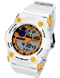 ディズニー ミッキーマウス ウォッチ ディズニー 腕時計 レディース キッズ メンズ WATCH Disney ホワイト×イエロー ミッキー デジタル 時計 ラバーベルト ディズニー 腕時計 50M防水 ミッキー [並行輸入品]