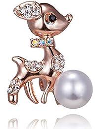 SKZKKクリスマスブローチ用女性クリスタルアニマルドレスブローチピン、かわいい子鹿真珠インレイスカーフピンセーターピンとクリップエレガントなパーティーファッション