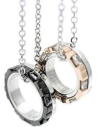 シルバーワン(Silver1)ko ペアルック リング ペンダント ネックレスチェーン付きセット ステンレス メタリック ピンク&ブラック黒