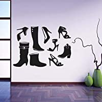 Ansyny ファッションハイヒール靴ポーズアートウォールステッカー黒ビニール取り外し可能な家の装飾靴のキャビネットデカールリビングルームの壁紙81 * 58センチ