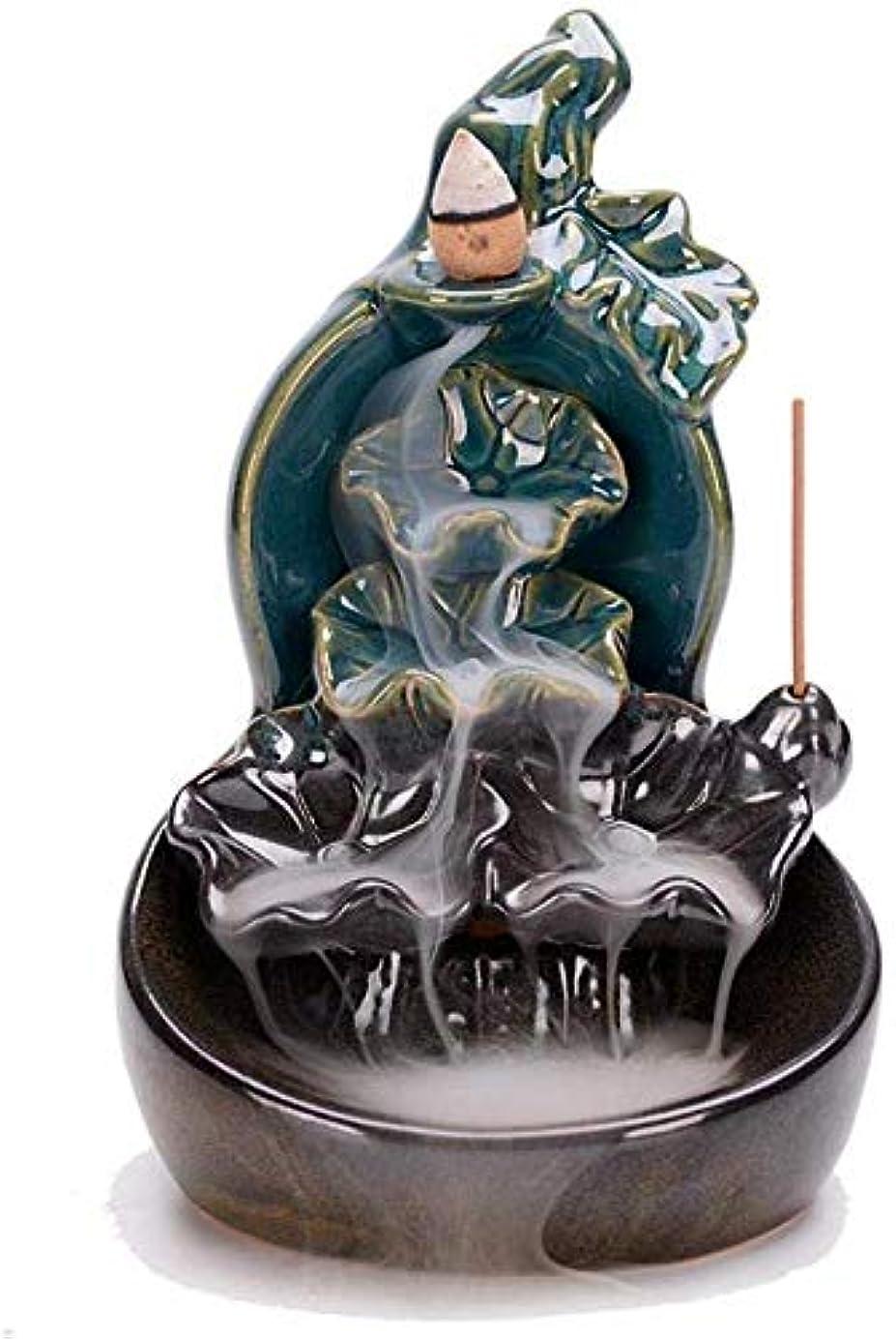 刑務所ダイヤモンドモットーロータス香スティックホルダー付き逆流香バーナーセラミックマウンテン滝香コーンバーナー,B