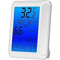 Senbowe デジタル温度計 湿度計 室内 LCD大画面 最高最低温湿度表示 タッチパネルとバックライト機能付き 置き掛け両用 マグネット付 (ホワイト)