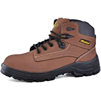 SAFETOE Mens Steel Toe Work Boots - M8356 Waterproof Leather Safety Boots Slip Resistant Safety Shoes for Women